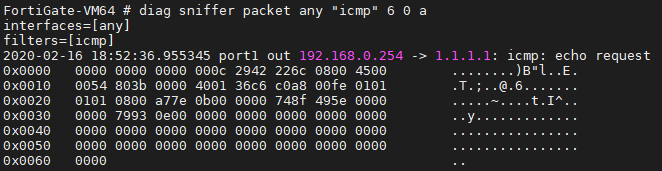 default ping packet content