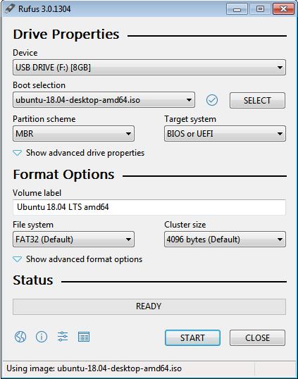 create bootable USB using Rufus