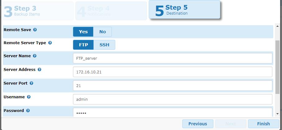 Backup Server Details