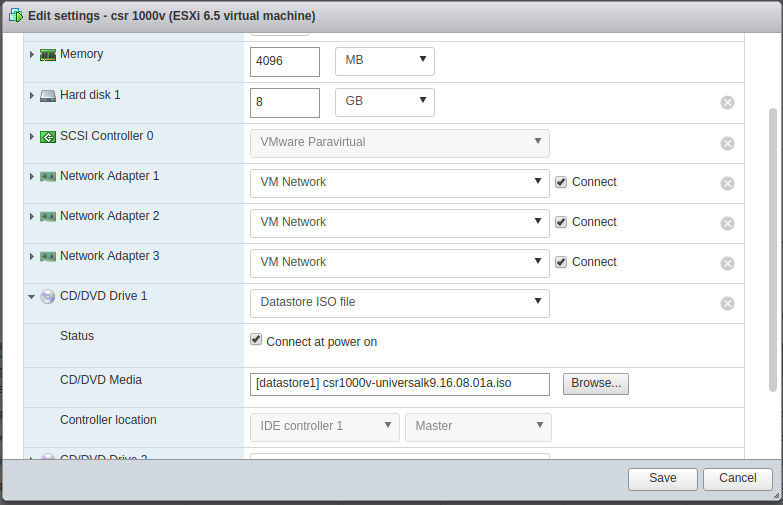 Attach ISO file to CD/DVD drive