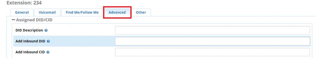 Extension configuration. Advanced tab
